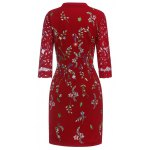 cheap Keyhole Floral Embroidered Fitted Dress