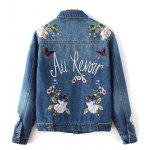 cheap Flower Embroidered Jean Jacket