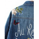 Flower Embroidered Jean Jacket for sale