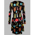 cheap Plus Size Long Sleeves Christmas Graphic Dress