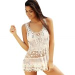 best Stylish Scoop Neck See-Through Sleeveless Lace Cover-up For Women