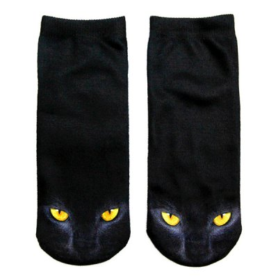 3D Black Cat Printed Crazy Socks