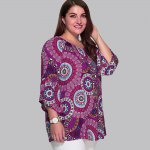 Plus Size Colorful Print Spliced Sleeve Blouse photo