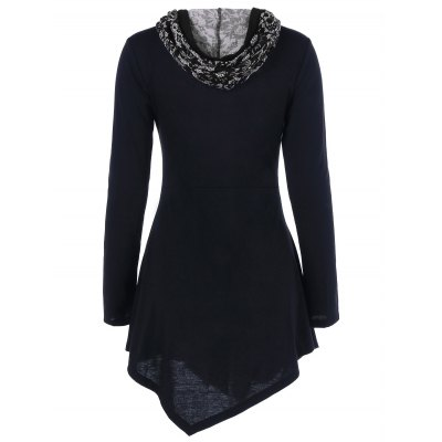 Lace-Up Asymmetrical Hooded T-Shirt