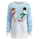 Funny Snowman Pattern Christmas Cute Plus Size Sweater photo