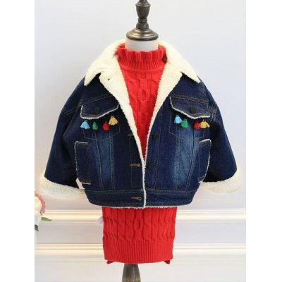 Deep Color Tassels Denim Jacket