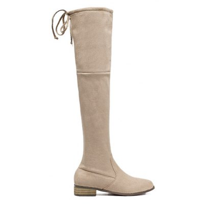 Tie Up Flat Heel Zip Thigh Boots