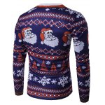 cheap Crew Neck 3D Father Christmas and Snowflake Print T-Shirt