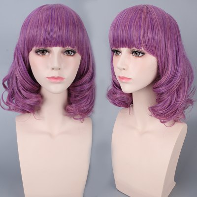 Medium Neat Bang Culrly Cosplay Wig