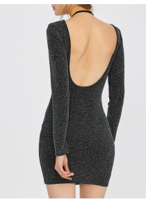Open Back Mini Shining Dress