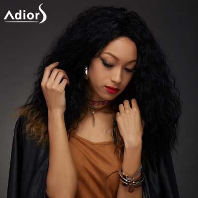 Adiors Long Ombre Color Afro Curly High Temperature Fiber Wig
