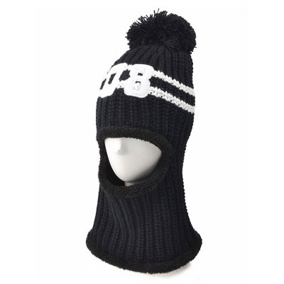 08 Embroidery Thicken Warm Neck Knitted Pom Hat