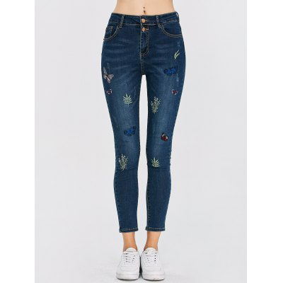 High Waisted Butterfly Embroidered Jeans