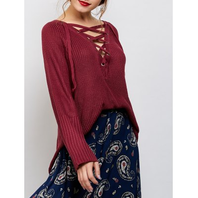 High Low Lace-Up Sweater