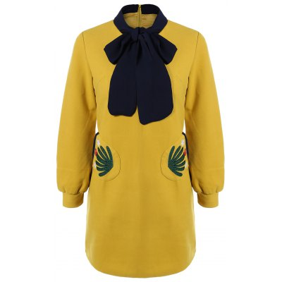 Bow Collar Embroidered A Line Dress