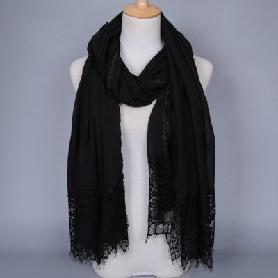 Oblong Scarf with Lace Trim