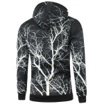 cheap Tree Print Drawstring Pullover Hoodie