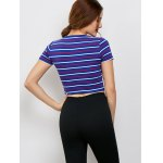 Striped Short Sleeve Crop Top for sale
