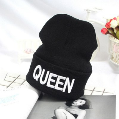 Flanging Knitted Beanie with Queen Embroidery