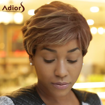 Adiors Short Fluffy Curly Side Bang Highlight Synthetic Wig