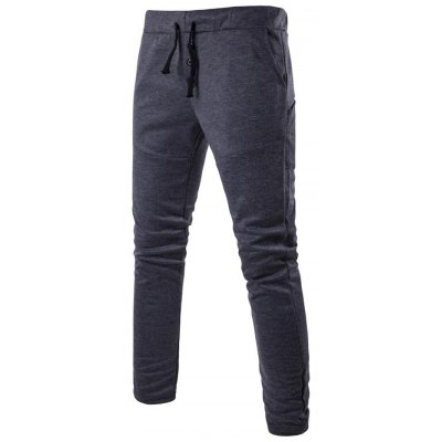 Drawstring Button Fly Jersey Pants