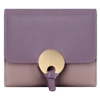 Color Block Short Leather Wallet
