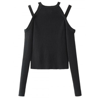 Cold Shoulder Strappy Pullover Knitwear
