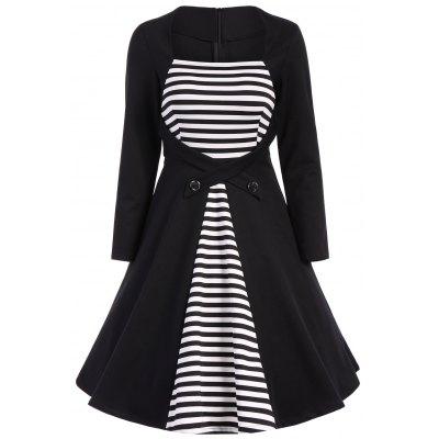 Plus Size Square Collar Striped Skater Dress with Long Sleeves