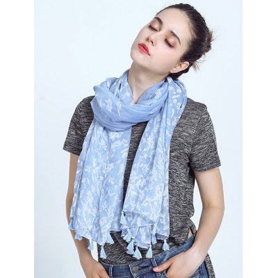 Voile Scarf with Tassel Edge