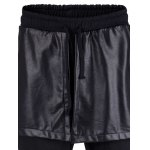 Drawstring Faux Leather Overlay Casual Pants for sale