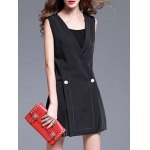 Deep V Neck Slit Sleeveless Mini Dress deal