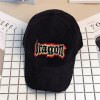 Corduroy Baseball Hat with Dragon Letters Embroidery