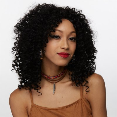 Medium Afro Curly Side Bang Synthetic Wig