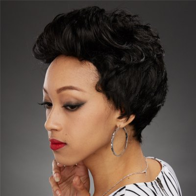 Fluffy Curly Capless Stylish Black Side Bang Synthetic Wig For Women