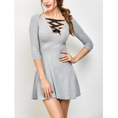 V Neck Lace Up Ribbed Sweater Dress