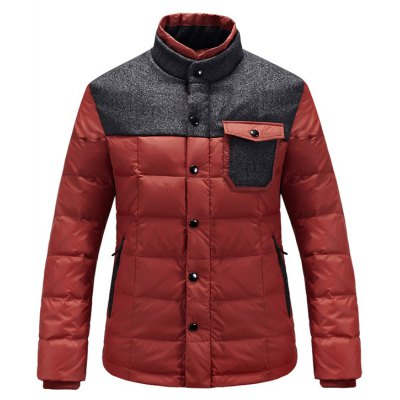 Stand Collar Wool Blends Panel Pocket Padded Jacket