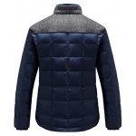 cheap Stand Collar Wool Blends Panel Pocket Padded Jacket