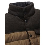 Stand Collar Color Block Pocket Padded Jacket deal