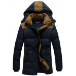 Hooded Color Block Elbow Patch Padded Jacket