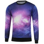 Crew Neck Galaxy Printed Sweatshirt