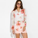 Floral Print High Low Blouse photo