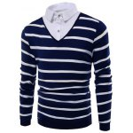 Shirt Collar Buttoned Striped Sweater