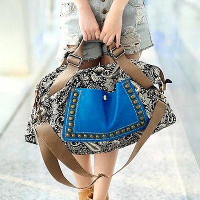 Rivets and Floral Print Design Tote Bag For Women