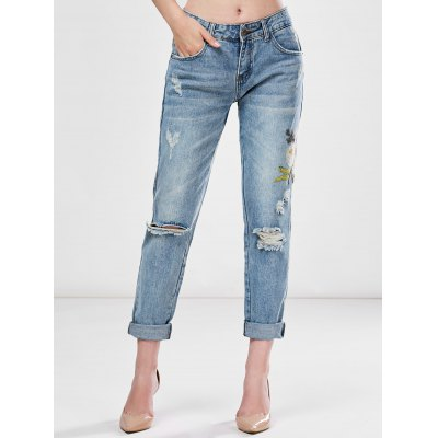 Slim Light Wash Embroidery Ripped Jeans