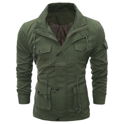 Zip Up Utility Jacket with Multi Pockets