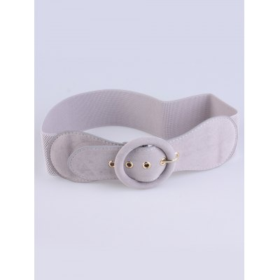 Round Pin Buckle Elastic Extra Wide Belt