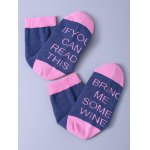 cheap Funny Letter Graphic Pattern Color Block Knitted Socks