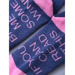 Funny Letter Graphic Pattern Color Block Knitted Socks photo