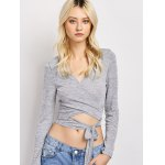 cheap Deep V Neck Cropped Wrap Top
