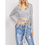 Deep V Neck Cropped Wrap Top